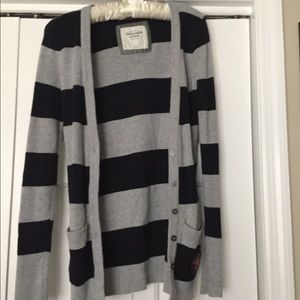 Black and Gray Striped Sweater Abercrombie & Fitch
